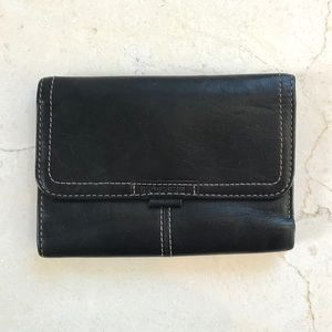 Fossil Leather Tri Fold Wallet Black
